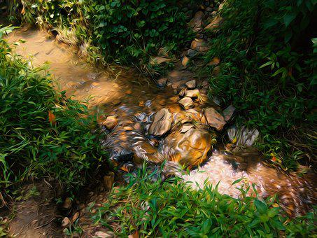 Ditch, Water Stream, Green, Oil Paint Filter, Photoshop