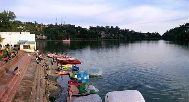 India, Uttarakhand State, Lake, City, Mountains, Hills