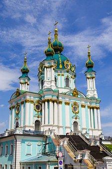 Cathedral, Dome, Kiev, Ukraine, Sky, Crosses