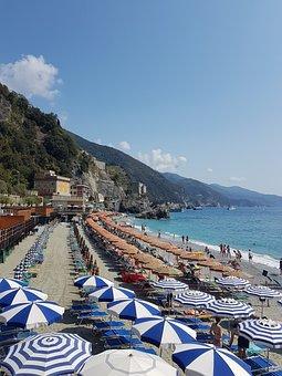 Beaches, Sea, Umbrella, Colorful, Swimming, Monterosso