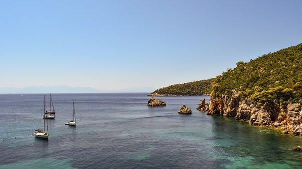 Greece, Skopelos, Stafylos, Landscape, Coast, Rocks