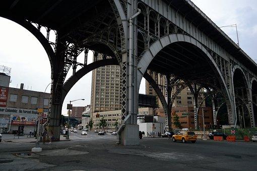 Bridge, Train Tracks, Overpass, Harlem, Train, Track