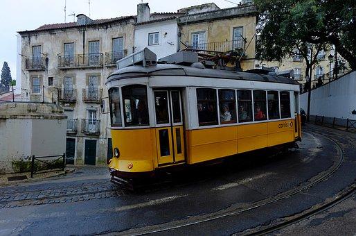 Lisbon, Tram, Yellow, Capital, Portugal, Transport