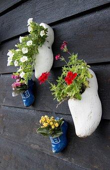Holland, Shoes, Flowerpot, Wall, Netherlands