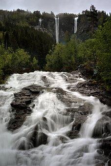 Water, Waterfall, River, Wilderness, Geisdalsfossen