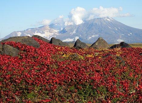 Mountains, Volcano, Tundra, Autumn, Road, Landscape