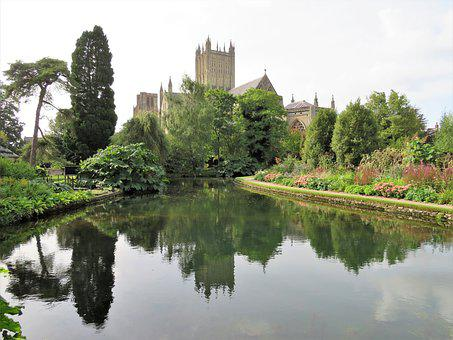 Wells, Cathedral, Somerset, Church, Reflection