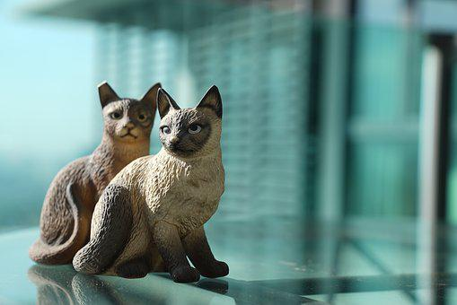 Two Cats, Ceramic Cats, Decorative, Decoration