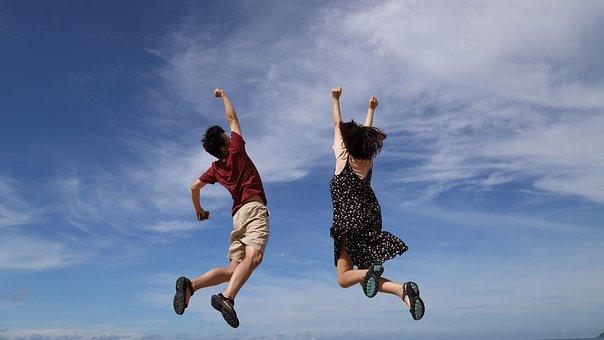 Jump, Sky, Hooray, Man, Cloud, Blue, Height