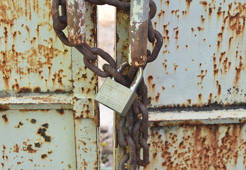 Gate, Lock, Security, Metal, Door, Entrance, Vintage