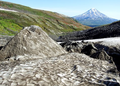 Highlands, Mountain Plateau, Valley, Volcano, Snow