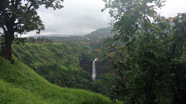 Pune, India, Waterfall, Monsoon, Lonavala, Kune Falls