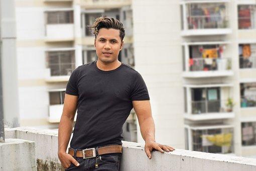Stylish Guy, Boy, Rooftop, Black Shirt, Man
