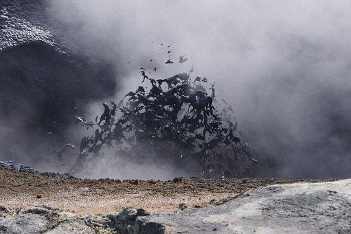 Iceland, Solfatare, Mud, Explosion, Grey, Geothermal