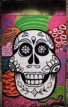 Graffiti, Decoration, Skull And Crossbones, Painted