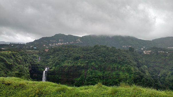 Pune, India, Waterfall, Monsoon, Lonavala, Kune Falls