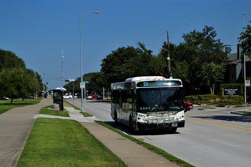 Houston Texas Metro Bus, Bus Stop, Road, Traffic, Bus
