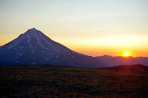 Sunrise, Dawn, Volcano, Mountains, Sun, Morning
