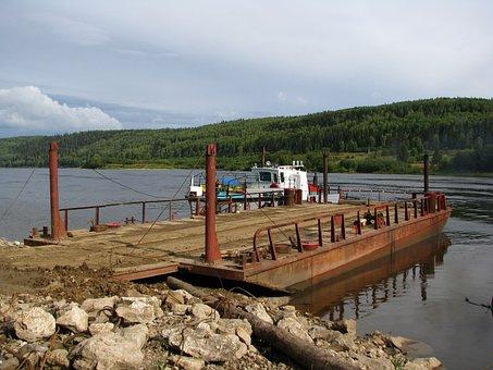 The Vishera River, Ferry, Crossing, Water, Transport