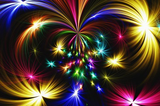 Star, Abstract, Colorful, Fireworks, Rocket