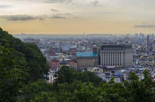 Kiev, Panorama, Skirt, Ukraine, Sky, At Home, Evening