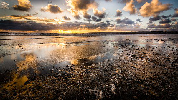 Filey, Beach, Yorkshire, Seascape, Sunrise, Autumn