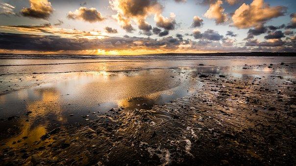Filey, Beach, Yorkshire, Seascape, Sunrise, Autumn