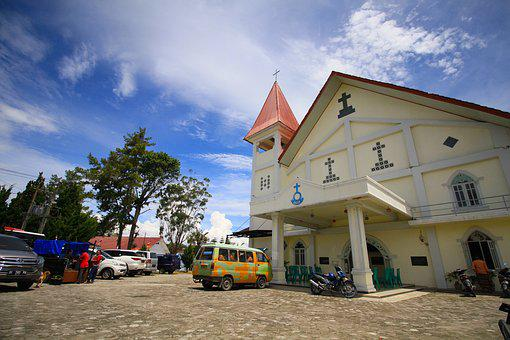 Church, Samosir, Toba, Asia, Blue, Indonesia, Batak