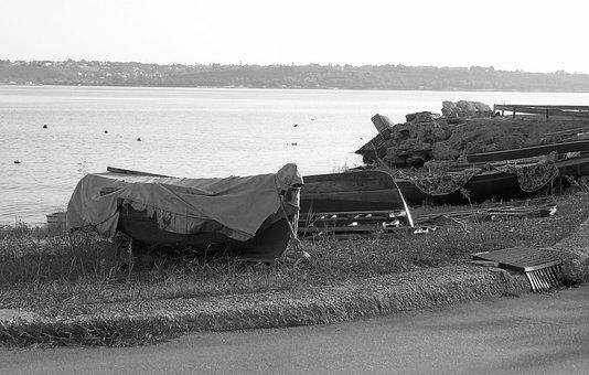 Black And White, Boat, Porto, Italy, Sun, Reflections