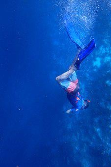 Dive, Snorkel, Boy, Underwater, Blue, Sea, Water, Swim