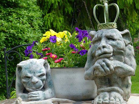 Stone Figures, Gnome, Garden Decoration, Spring