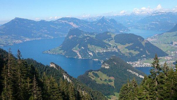 Mountains, Lake Mountain, The Alps, Switzerland