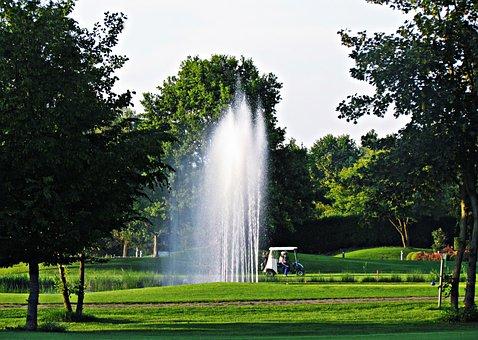 Field, Fountain, Meadow, Golf, Game, Entertainment