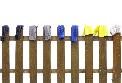 Fence, Laundry, Dry, Wood Fence, Paling, Socks