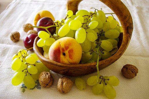Still Life, Fruit, Grapes, Fishing, Plums, Walnuts