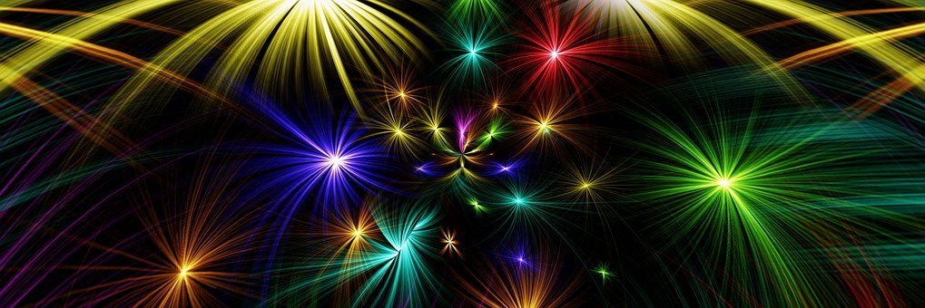Star, Abstract, Colorful, Fireworks, Rocket, Banner