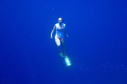 Swim, Snorkel, Dive, Blue, Sea, Water, Girl, Under