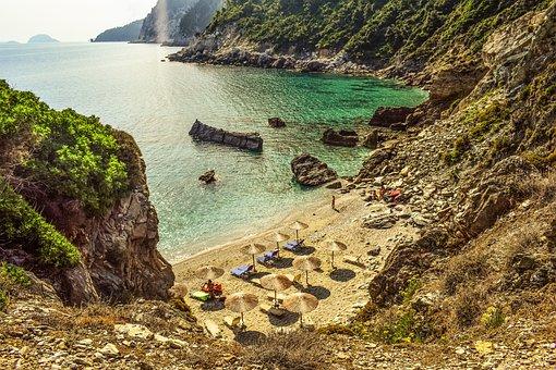 Greece, Skopelos, Beach, Coast, Nature, Morning