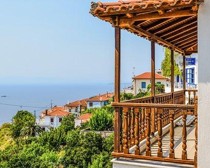 Greece, Skopelos, Glossa, Village, Balcony, View
