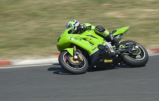 Motorcycle, Circuit, Race, Kawasaki, Green, Turn, Speed