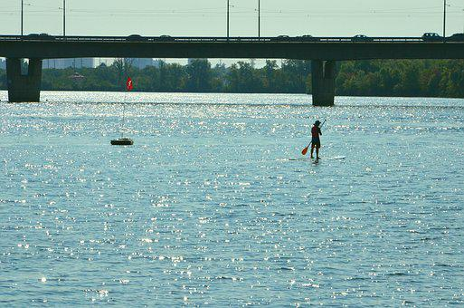 River, Bridge, The Boatman, Summer