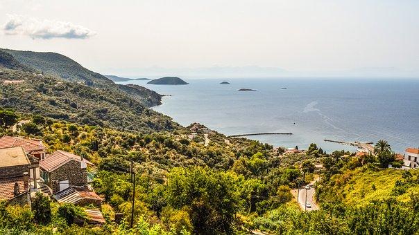 Greece, Skopelos, Glossa, Landscape, View, Panoramic