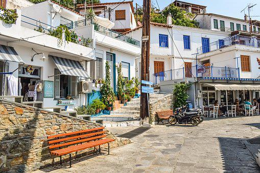 Greece, Skopelos, Glossa, Village, Street, Square