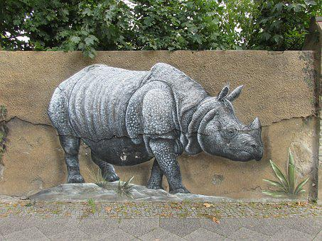 Rhino, Wall Art, Wall, Zoo, Berlin, Animal, Nature