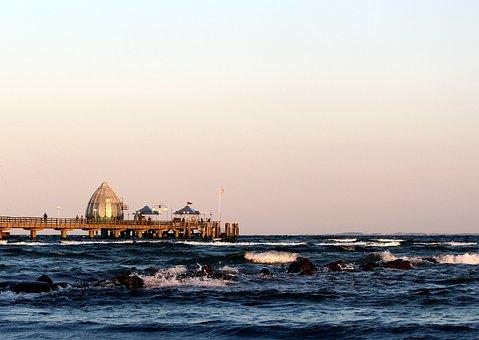 Sea Bridge, Grömitz, Baltic Sea, Sea, Atmospheric