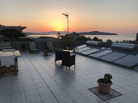 Sunset, Roof, Rooftop, Terrace, Building, Summer