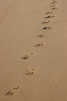 Footprints, Sand, Beach, Jesus, Christian, Summer, Sea
