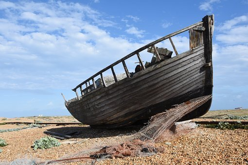 Boat, Wreck, Shipwreck, Pebble Beach, Sea, Coast, Sky
