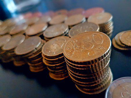 Money, Coin, 50 Cents, Stack, Rahapino, Currency, Euro