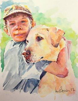 Boy, Dog, Portrait, Pet, Animal, Cheerful, Child, Kid